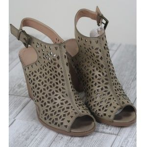 Size 9 EUC Restricted Laser Cut Taupe Bootie